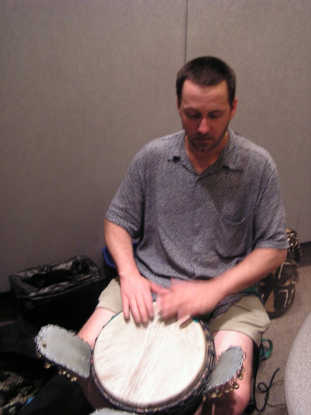 Playing djembe