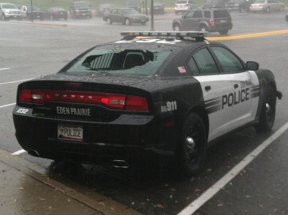 Squad car hail damage