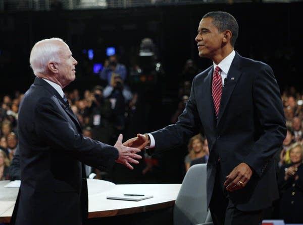 McCain and Obama shake before the debate