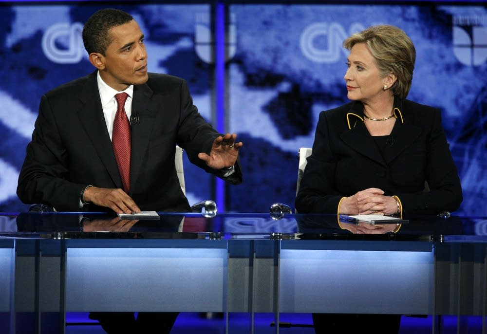 Sens.  Barack Obama and Hillary Clinton