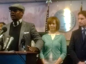 Wynfred Russell, Sen. Tina Smith, Rep. Dean Phillips.