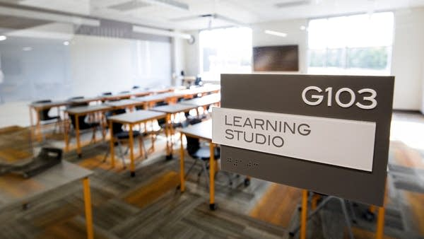 "A sign reads ""learning studio."""