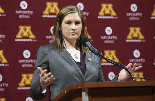 Lindsay Whalen addresses the media.