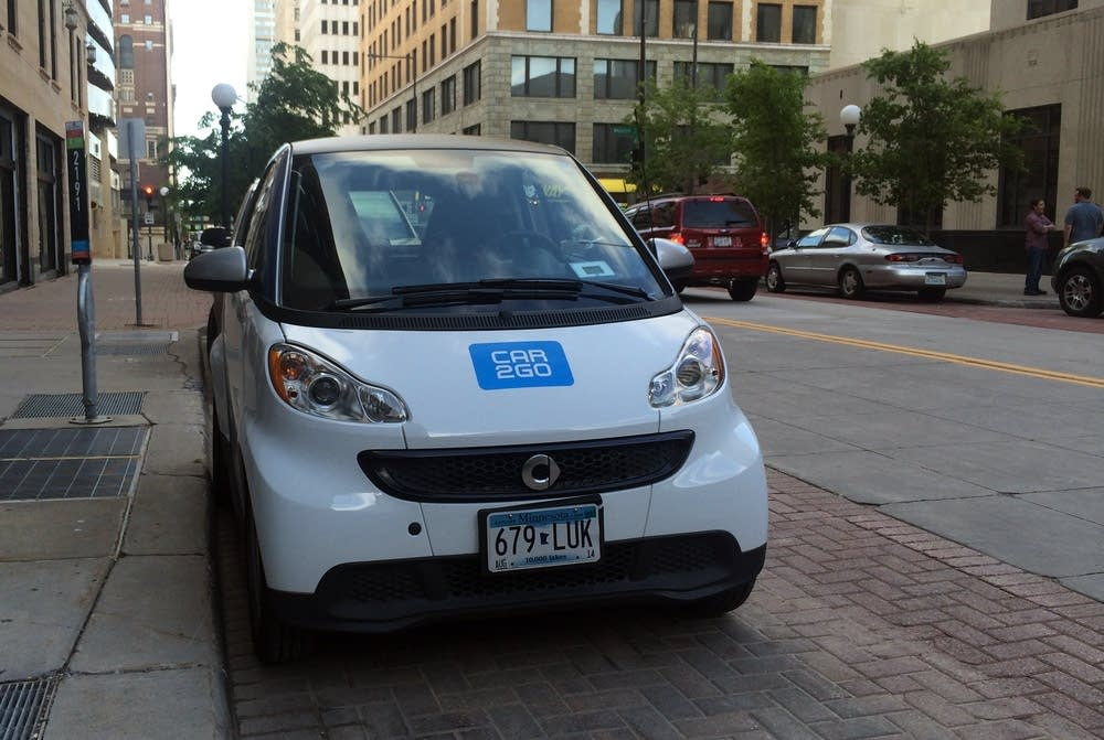 A Car2Go sits outside St. Paul City Hall