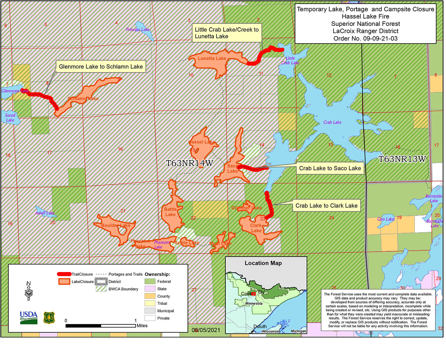 A map showing a wilderness area.