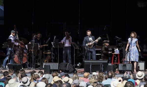 """Think About Your Troubles,"" Chris Thile, Gaby Moreno and the band."