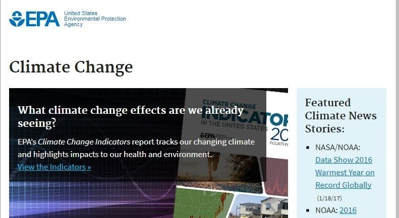 This screengrab shows climate change info on Minneapolis website