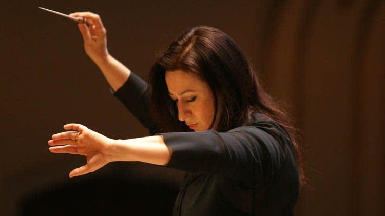 Woman waving baton