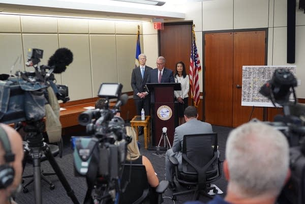 Hennepin County Attorney Mike Freeman holds a news conference.