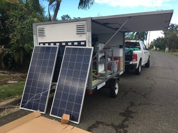 A solar trailer from the Footprint Project.
