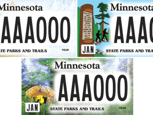 Options for State Parks and Trails license plate.
