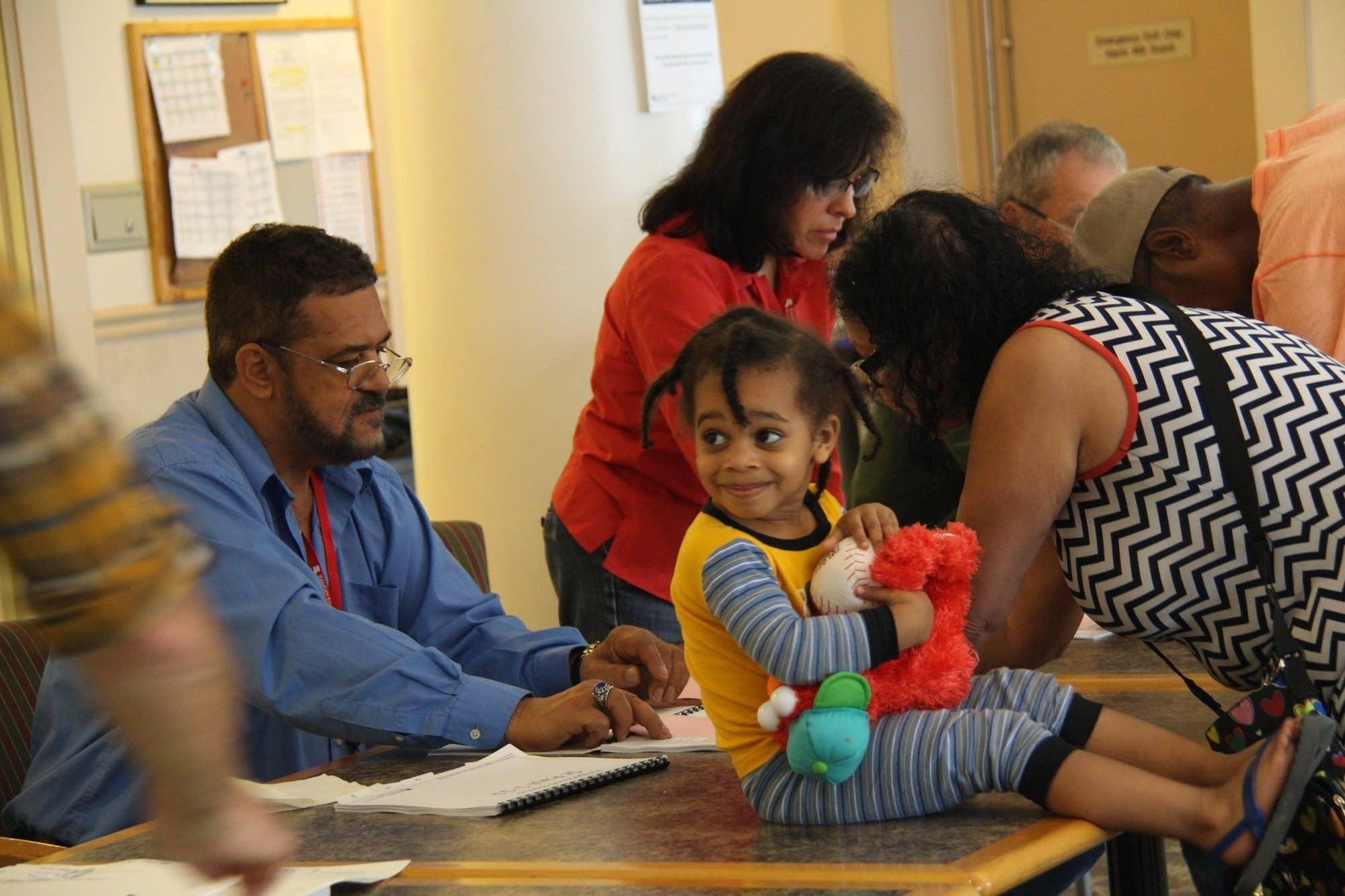 Two-year-old Victor came to the polling station in Frogtown.
