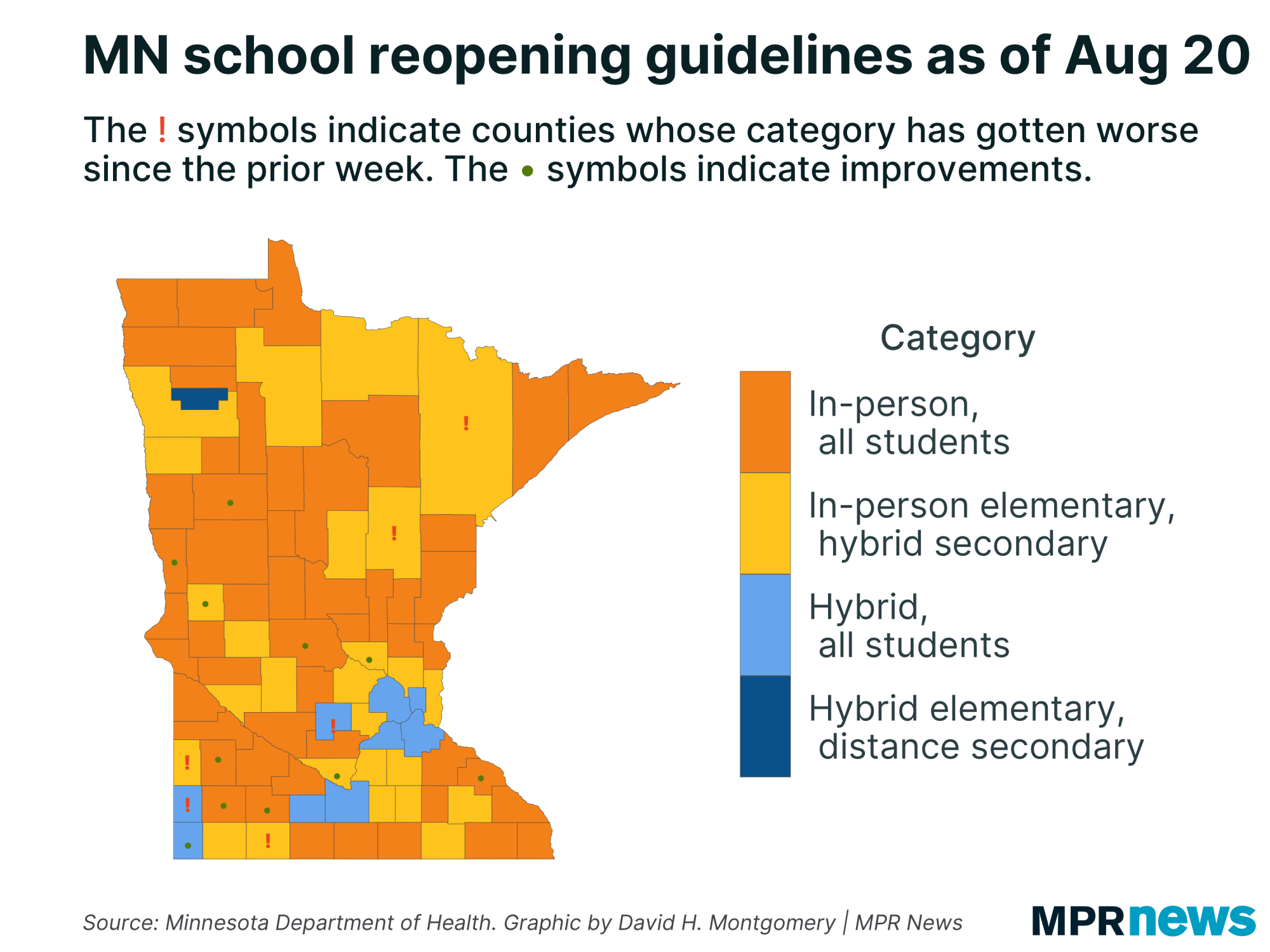 Recommendations for school reopening based on COVID-19 case counts