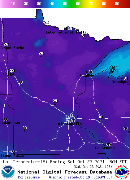 Forecast low temperatures Sunday morning