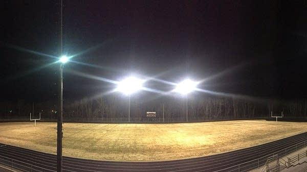 The stadium lights at Crosby-Ironton High School