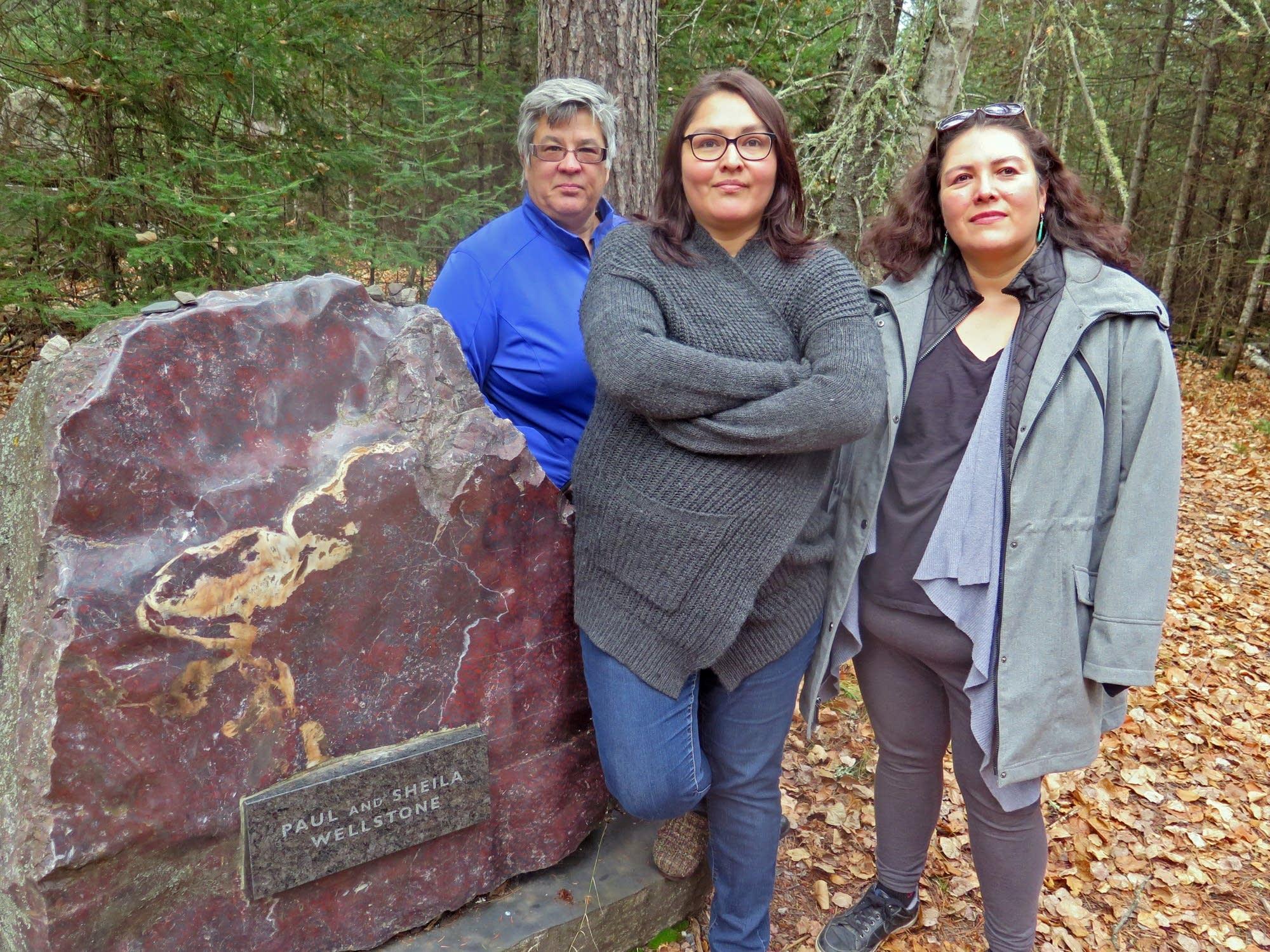 Lori Janatopoulos, Nevada Littlewolf and LeAnn Littlewolf at memorial.