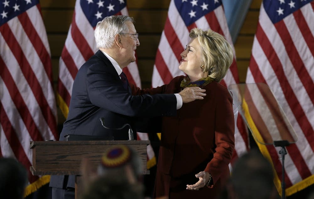 Walter Mondale and Hillary Clinton