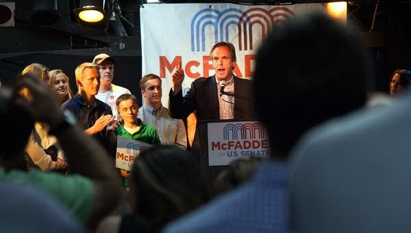 Mike McFadden speaks to his supporters