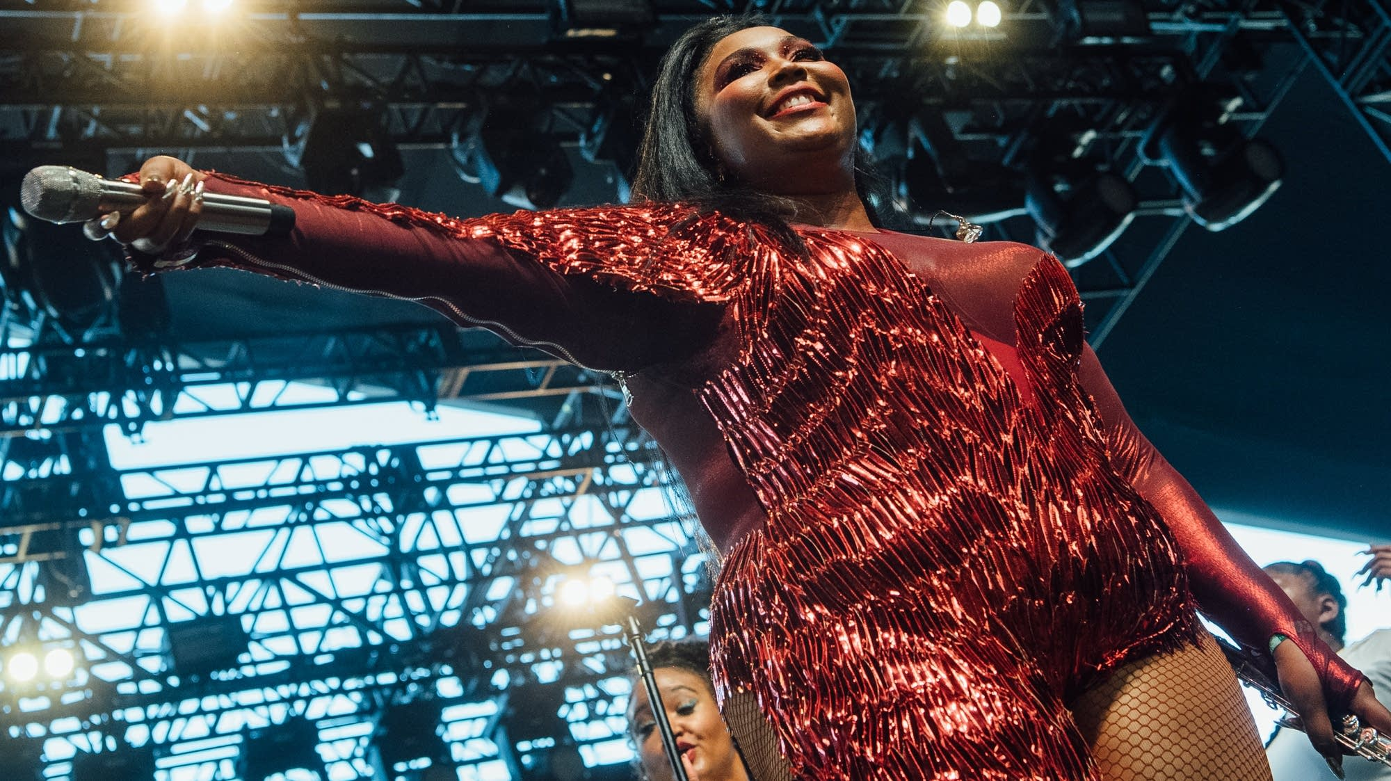 Lizzo performs onstage at Coachella on April 21 in Indio, Calif.