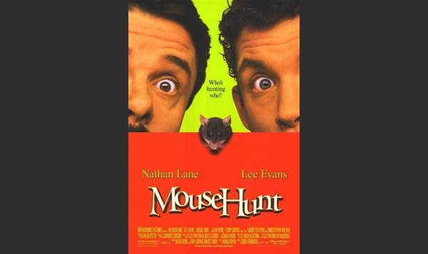 """""""Mouse Hunt"""" movie poster: 2 wide-eyed men w/ mouse in middle"""
