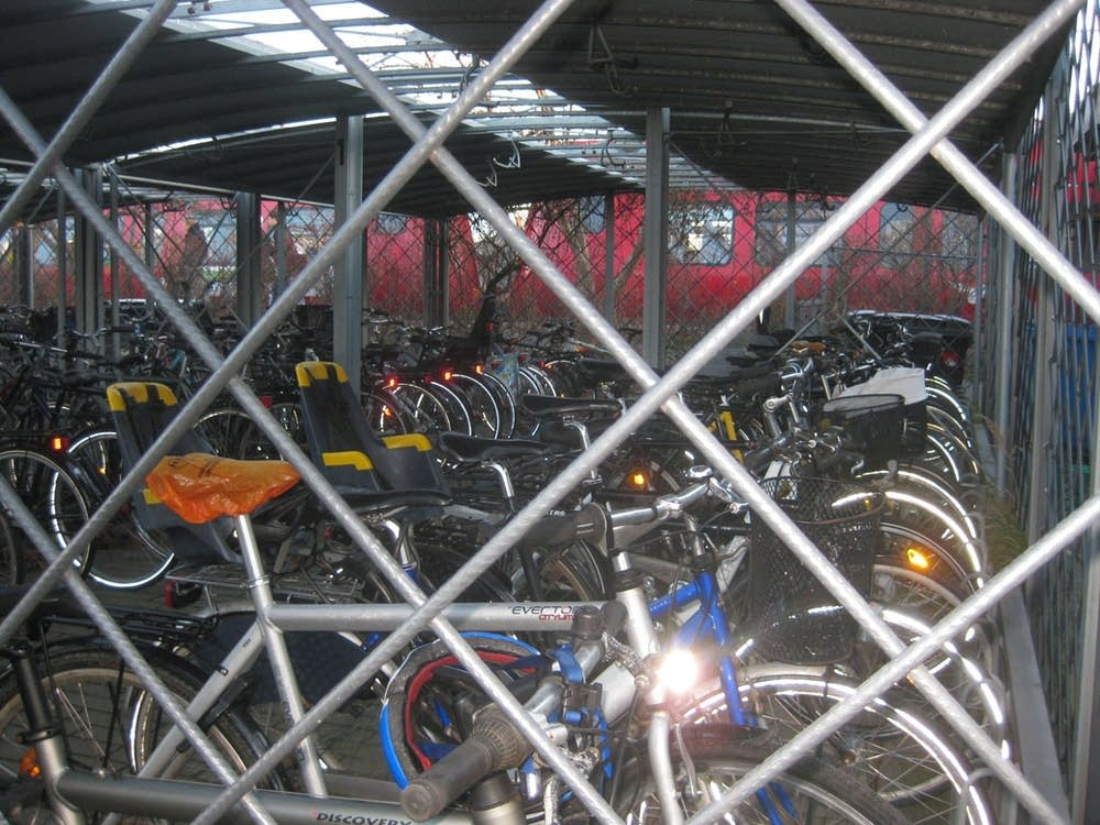 Bikes near a train station in Denmark.