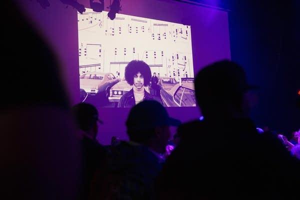 A slide show serves as a backdrop
