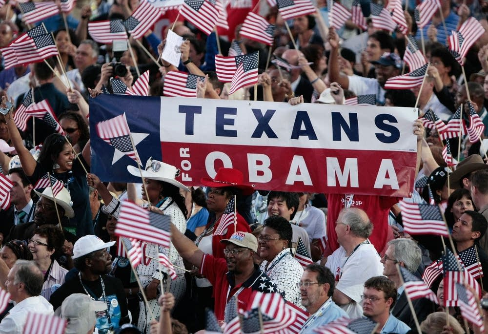 """Texans for Obama"" sign at the DNC"