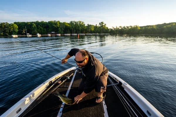 The early morning sun shines on Daniel Heu as he brings in another fish.