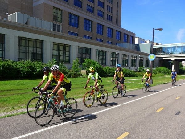 Members of the Major Taylor Bicycling Club set off for a ride.