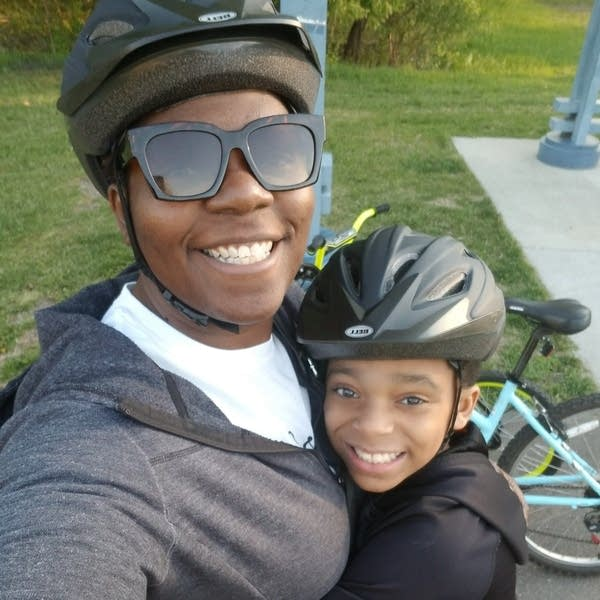 Sonya Lewis on a bike ride with her son Bryce