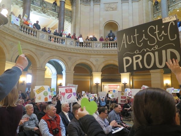 Physical or cognitive disability advocates rallied at Minnesota's Capitol.
