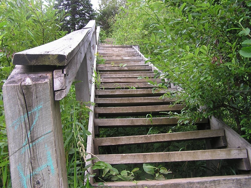 Steps leading up to the Little Chester ski jump