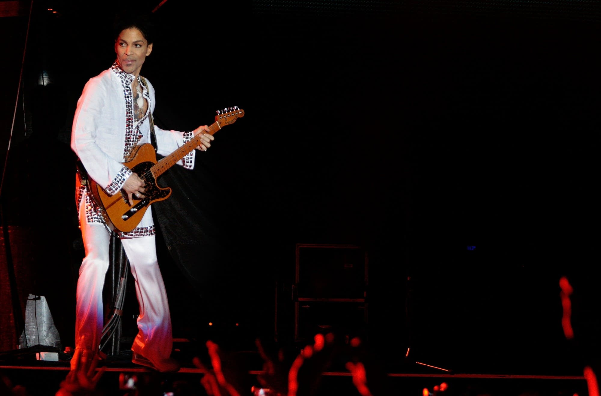 Prince performing at Coachella in 2008