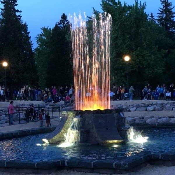 The Olcott Park Fountain seen at night