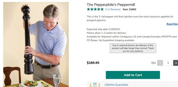 White man in khakis using HUGE peppermill on boring looking food