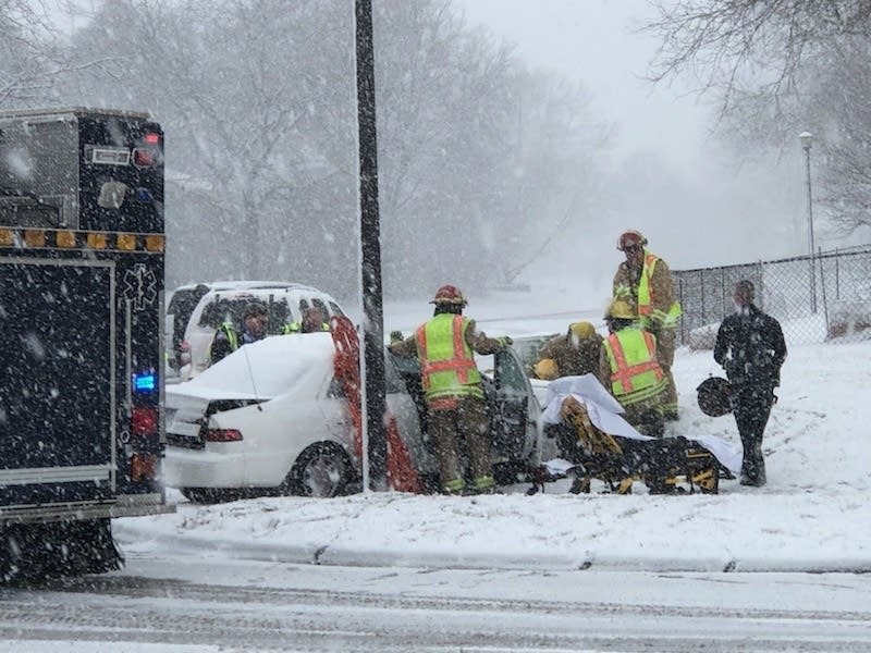 Crews respond to an accident in Northfield, Minn.