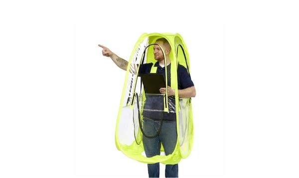 An Under The Weather brand walking pod for rain protection
