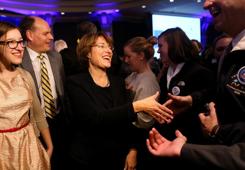 Klobuchar greets supporters