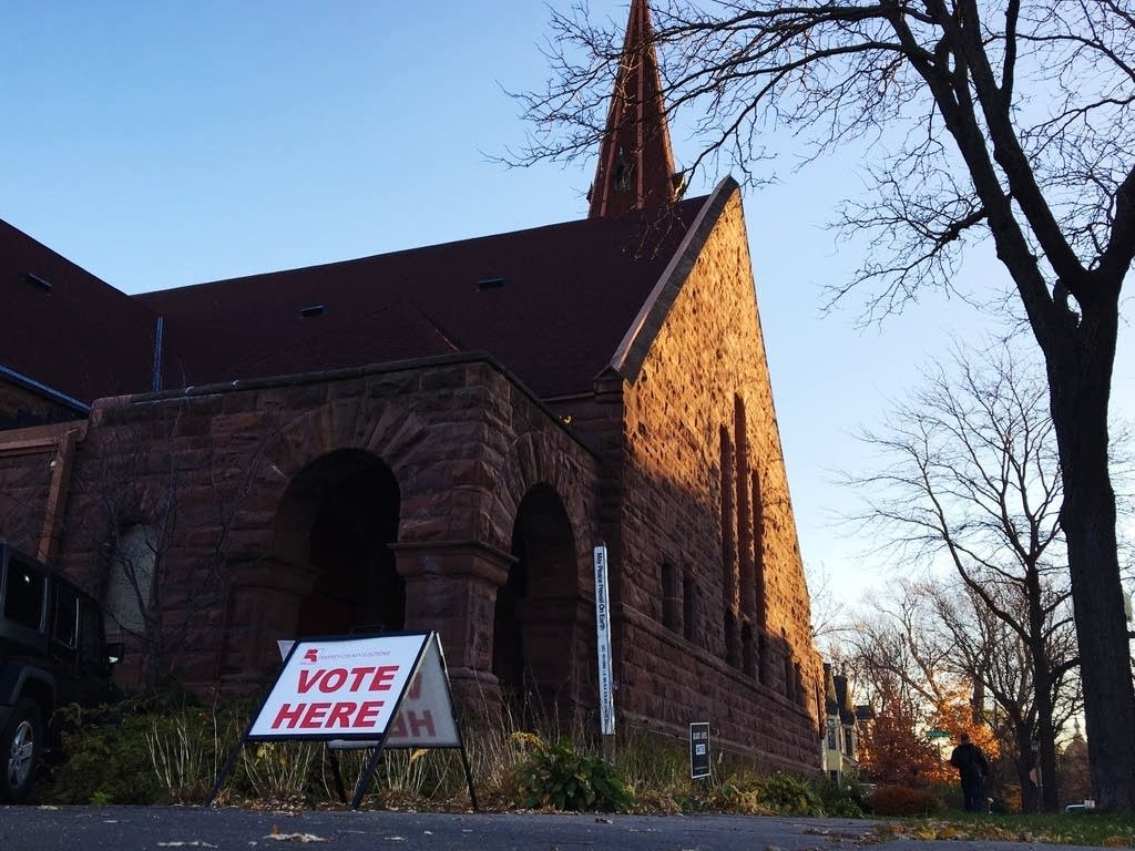 A voting sign at Presbyterian Church