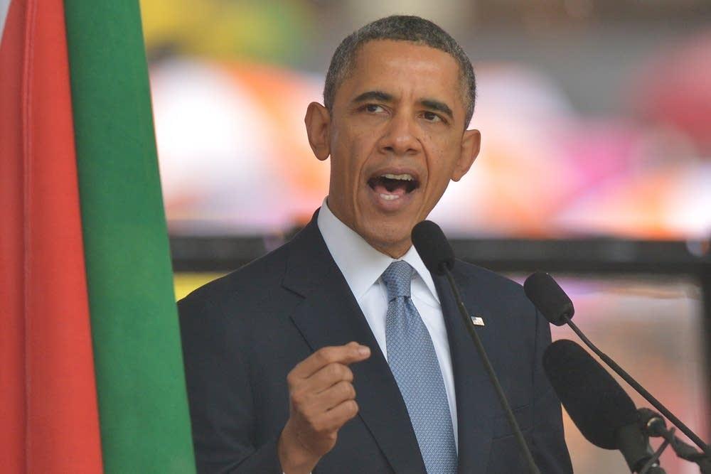 Obama at Mandela's memorial service