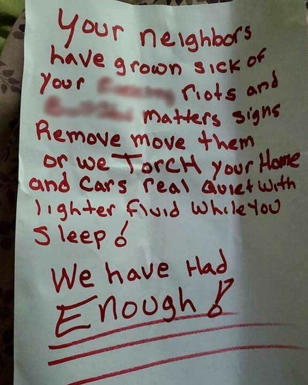 A threatening note.
