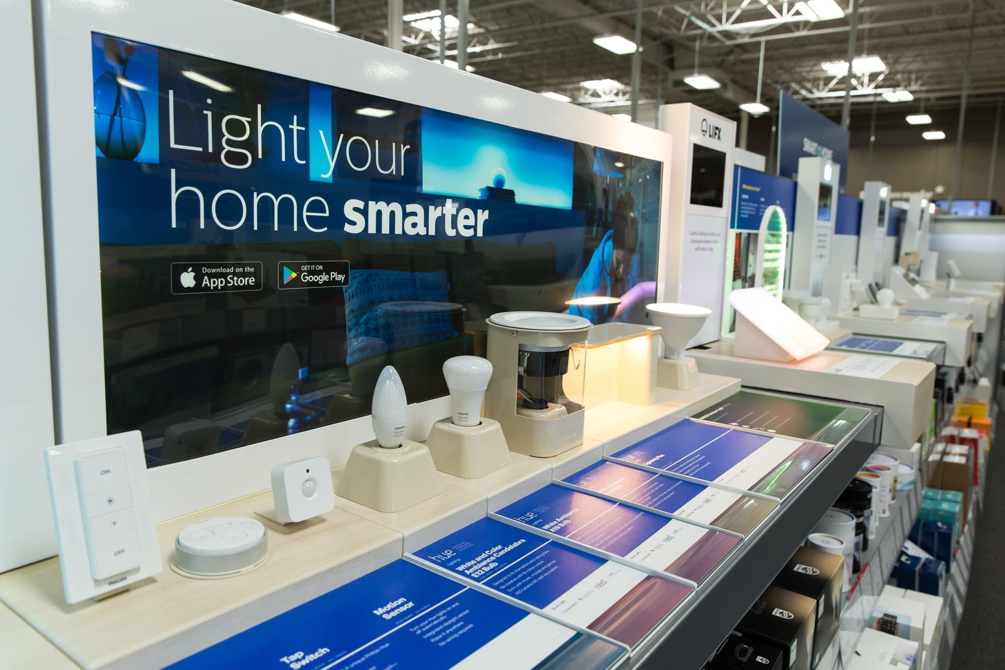 The smart home section sits in the front of Best Buy's flagship store.