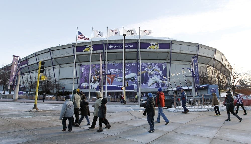 Fans outside the Metrodome