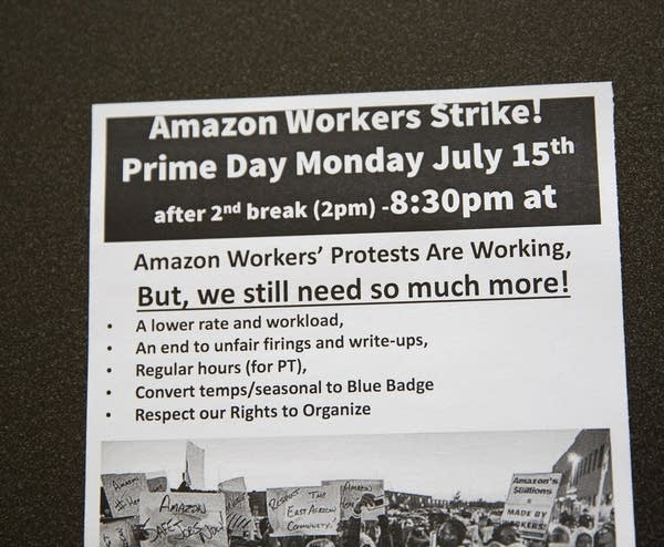 "A flyer reads ""Amazon Workers Strike! Prime Day Monday July 15th"""