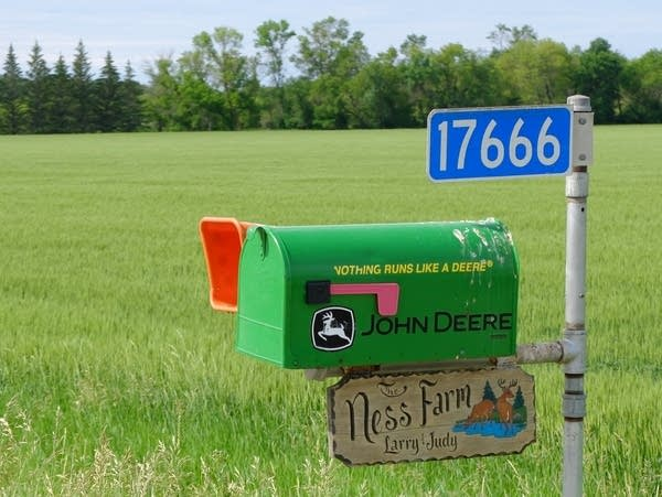 The mailbox at the Ness farm.