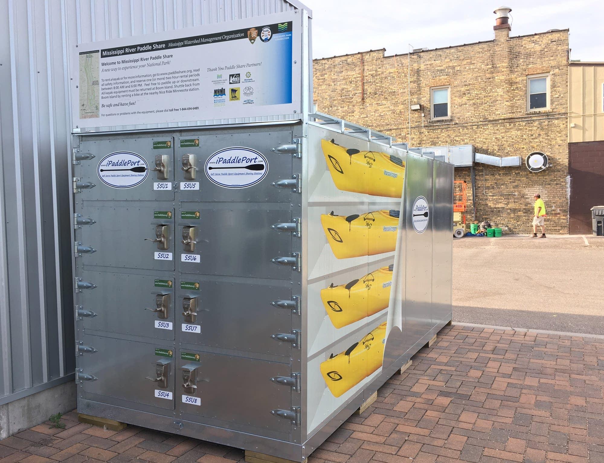 The Paddle Share locker near the Lowry Bridge