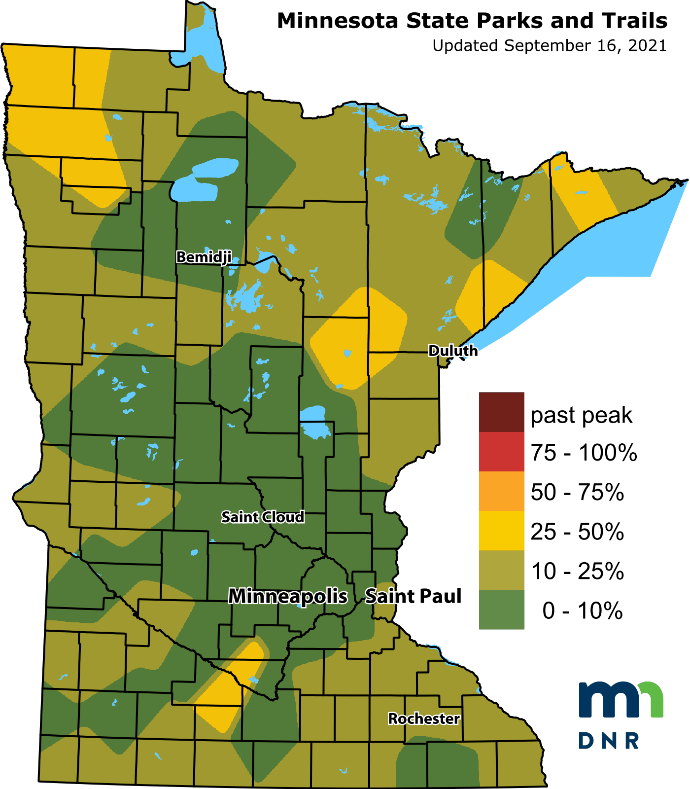 A map of the latest fall colors.