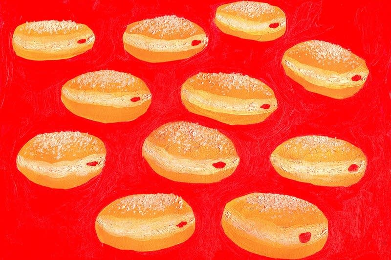 Who decided we should eat jelly donuts for Hanukkah?