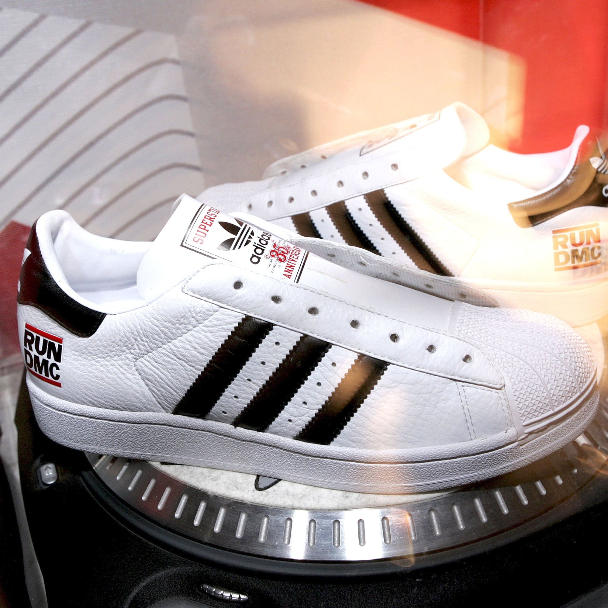 A pair of Adidas sneakers at a 2005 event honoring Jam Master Jay.