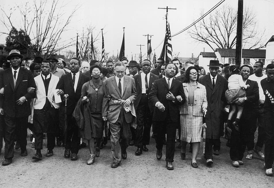 Martin Luther King Jr leads march to Montgomery